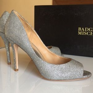 Badgley Mischka Silver Diamond Drill Bridal Heels